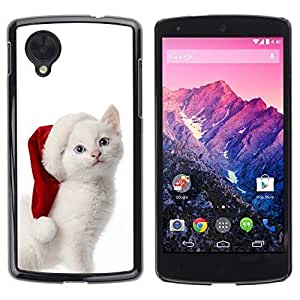 YOYO Slim PC / Aluminium Case Cover Armor Shell Portection //Christmas Holiday Cute White Kitty Cat 1149 //LG Google Nexus 5 by icecream design