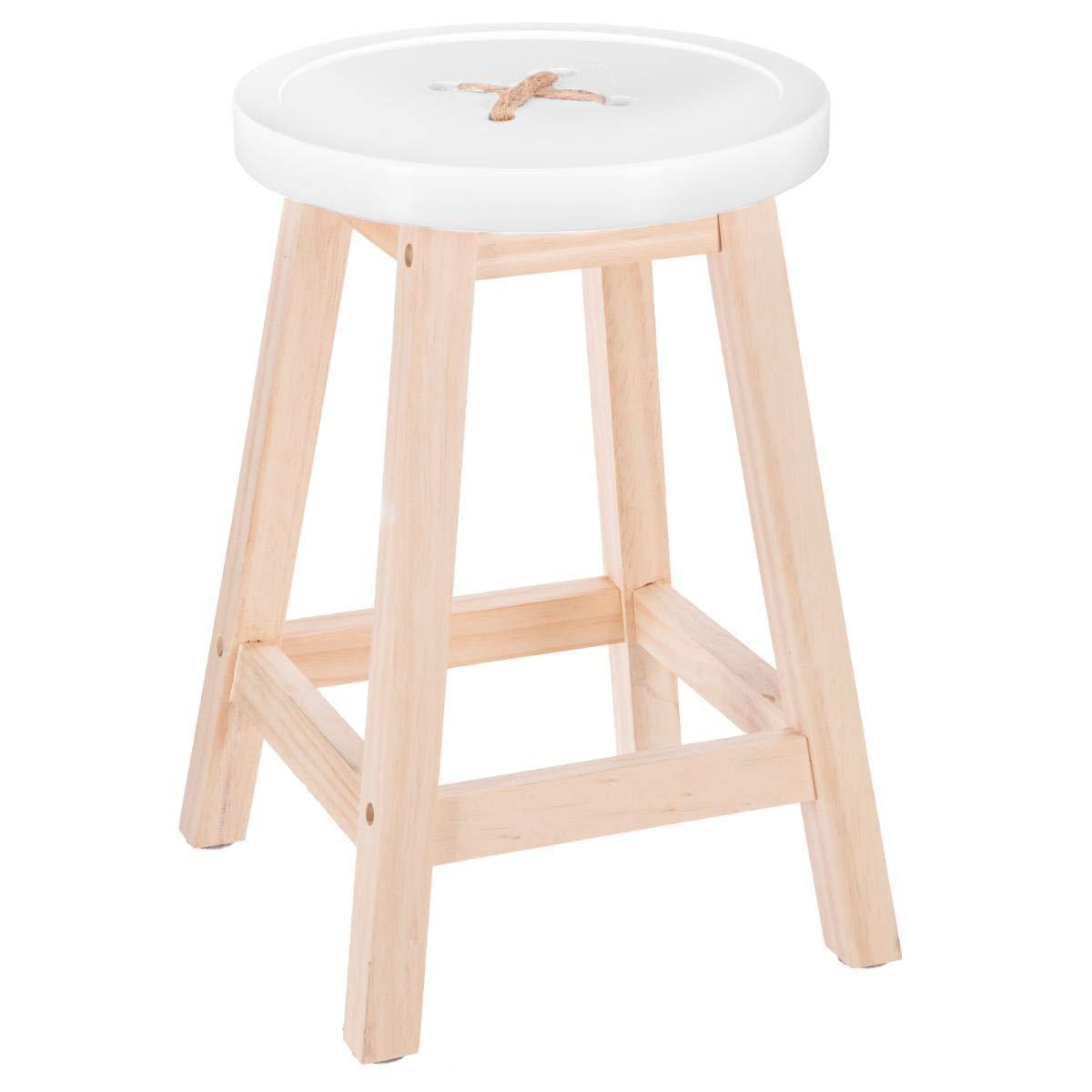 """Atmosphera – Sgabello robusto con piedi in legno naturale e seduta a forma di """"bottone"""". Colore: BIANCO"""