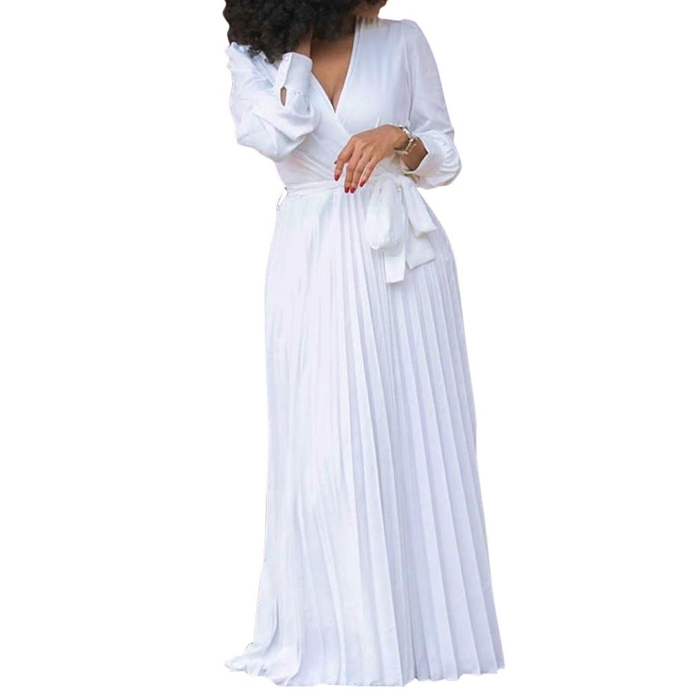 Bodycon4U Women's Pleated Long Sleeve V Neck Party Cocktail Long Maxi White Shirt Dress with Belt 2XL