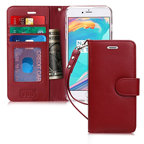 FYY Case for iPhone 6S/ iPhone 6, [Kickstand Feature] Flip Folio Genuine Leather Wallet Case with ID and Credit Card Pockets for Apple iPhone 6/6S (4.7'') Wine Red by FYY