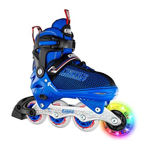 Crazy Skates Adjustable Inline Skates with Light Up Wheels - Roller Blades for Boys - Blue Medium (Sizes 1-4) (Rollerblades Adjustable Boys)