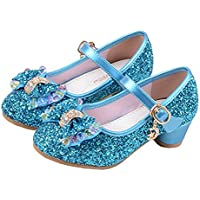 YING LAN Girl's Princess Cosplay Performance Shoes Sequins Dress Shoes Low Heeled