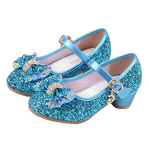 YING LAN Girl's Princess Cosplay Performance Shoes Sequins Dress Shoes Low Heeled Blue -