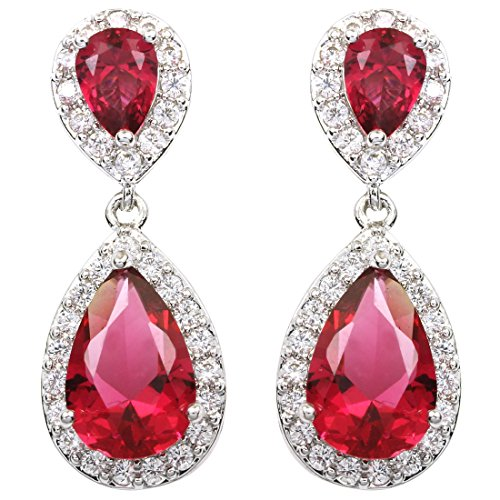 FC JORY White Gold Plated Plum Red Crystal CZ Teardrop Pear-Shaped Cubic Zirconia Clip On Earrings