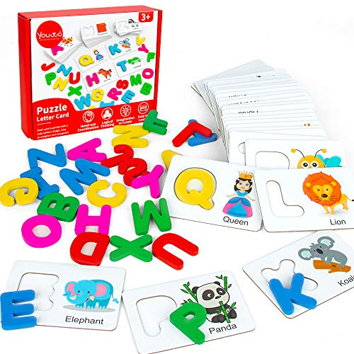 🥇 Youwo Puzzle Letter Card Alphabet Flash Cards Wooden Letters Jigsaw Toddler ABC Learning Color Recognition Educational Toys Age 2 and Up Toddler Learning Activities.