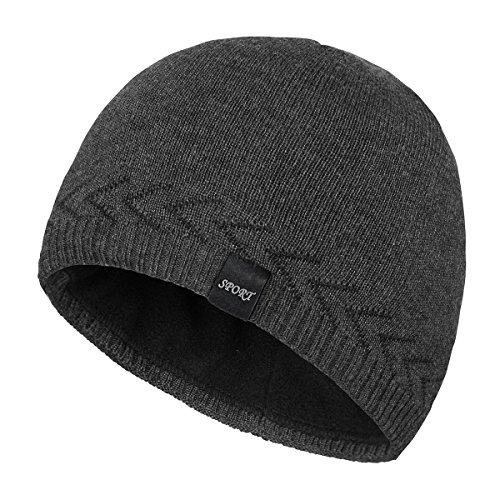 OMECHY Mens Winter Warm Knitting Hats Skull Beanie Cuff Toboggan Cap,Carbonarius