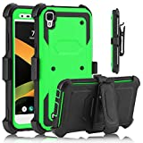 USHAWN LG X Style case, LG Tribute HD Case, Full Body Shockproof Heavy Duty Armor Protective Case Cover with Belt Swivel Clip for LG X Style / LG Tribute HD / LG Volt 3 / LG LS 676 / LG K200 (Green)