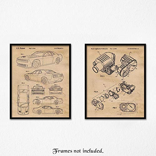 Original Dodge Challenger Hellcat SRT & Air Induction Patent Art Poster Prints- Set of 2 (Two 8x10) Unframed- Great Wall Art Decor Gifts Under $20 for Home, Office, Garage, Man Cave, Cars & Coffee Fan