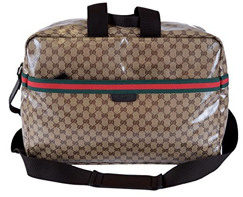 Gucci XL Crystal Line GG Guccissima Red Green Web Travel Luggage - Gucci Green Red