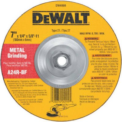 Dewalt DW4999 7 inch 5/8 inch-11 Arbor Fast Cut Metal Depressed Center Grinding Wh