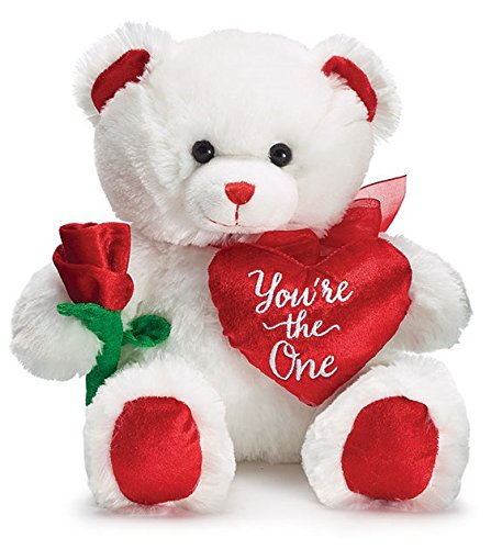 White Plush Bear (BnB Stuffed Love Bear Plush Teddy with Rose and Heart for Engagement Proposal, Valentine, Encouragement, Wedding, Birthday Present, Red White Green soft Toy Animal 11 inches Sitting 1 per order)