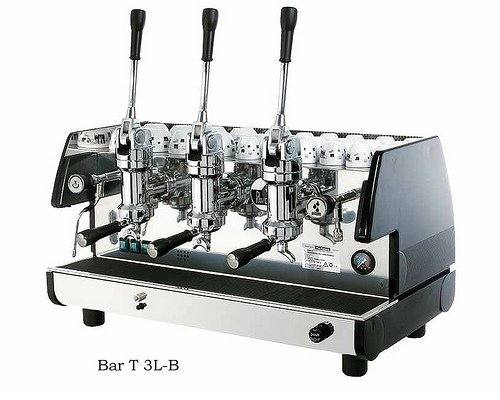 La Pavoni Bar T 3L-B Lever Espresso Coffee Machine with Chromed Brass Groups, Golden Black, 22.5 liter boiler, Manual boiler water charge button, Anti-vacuum valve, Manometer for the boiler pressure control