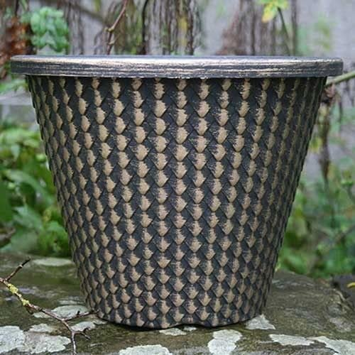Plástico redondo piñotas maceta plantas flores patio contenedor casa jardín 28 cm nuevo Wilsons directa, Black/Gold: Amazon.es: Jardín