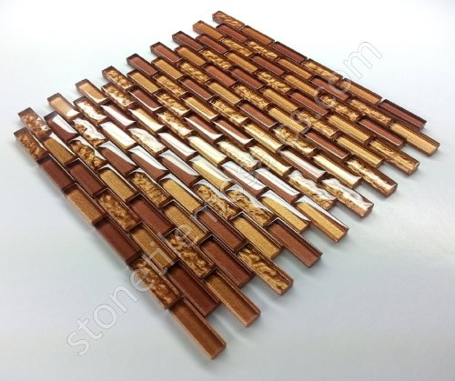 Vogue Premium Quality Copper Gold Glass Mixed Brick Pattern Mosaic Tile for Backsplash and Bathroom Wall Designed in Italy Lot of 50 sq. ft.