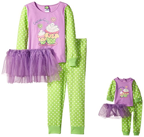 Dollie & Me Girls' Big Cupcake Tutu Sleep Set, Purple/Light Green -