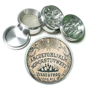 Ouija Board D3 Herb & Spice Grinder 63mm 4 Piece Aluminum Silver Metal Talking Spirit Occult Witchcraft Spooky