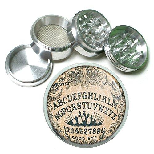 Ouija Board D3 Herb & Spice Grinder 63mm 4 Piece Aluminum Silver Metal Talking Spirit Occult Witchcraft Spooky (Ouija Board Piece)