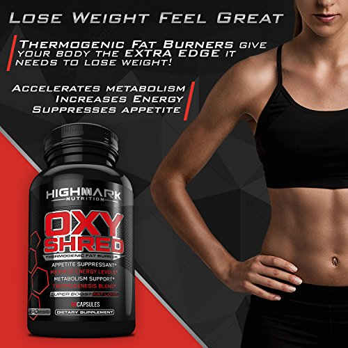HighMark Nutrition Oxy Shred Thermogenic Fat Burner Weight Loss Pills | Lose Weight with Metabolism Support, Green Tea Extract, Raspberry Ketones, Appetite Suppressant & Energy Level Booster 60ct