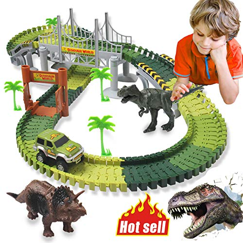 HOMOFY Dinosaur Toys 142pcs Slot Car Race Track Sets Jurassic World with Flexible Tracks 2 Dinosaurs,Bridge Create A Road Car Track Toys for 1 2 3 Year Old Boys Girls Toddlers Gifts (Brand Protection) from HOMOFY