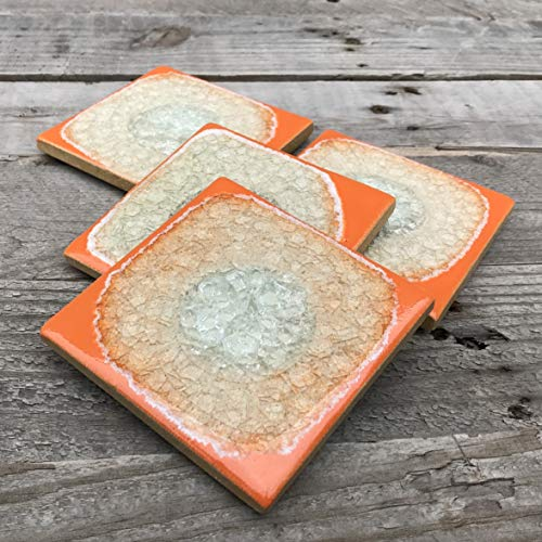 Geode Crackle Coaster Set of 4 in BRIGHT ORANGE: Geode Coaster, Crackle Coaster, Fused Glass Coaster, Crackle Glass Coaster, Agate Coaster, Ceramic Coaster, Dock 6 Pottery Coaster (Bright Orange Glass)