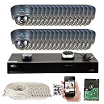 32 Channel H.265 4K NVR 4MP 1520p POE IP Camera System Wired, 32 x Varifocal Zoom 2.8-12mm Outdoor Indoor Security Camera - H.265 (Double recording data and enhance picture quality compared to H.264)