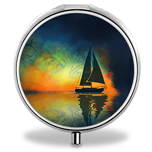 Basen Customized Pill Case, Sea Sailboat Pattern Design Exquisite 3 Compartment for Travel and Purse (Box Sailboat Shadow)