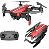 Cinhent Quadcopter, X12 Drone 720P Wide Angle Camera WiFi FPV 2.4G One Key Return Helicopter, 8.3 × 6.9 × 2.7 Inch, RC Flying Toy for Toddlers Adults Gift, Beginners Indoor Outdoor Play 2018 (Red)