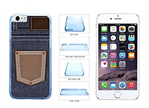 Jeans Pattern Denim Pocket Clear Side Plastic Phone Case Back Cover For Apple iPhone 6 (4.7 In) comes with Security Tag and MyPhone Designs(TM) Cleaning Cloth