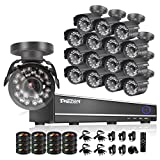 TMEZON 16CH Channel HDMI Video DVR CCTV Security Cameras System 800tvl IR Cut Outdoor Bullet Hi-Resolution Surveillance Cameras Black Smart Phone View