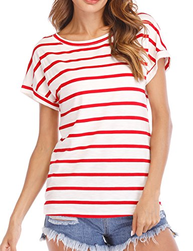 Haola Women's Striped Tops Summer Casual Round Neck Short Sleeve Blouse T-Shirt Red White Stripe 2X