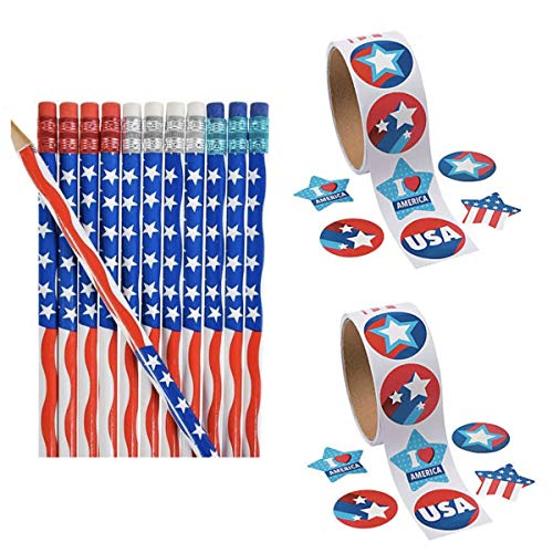 - 3 Dozen (36) Patriotic USA Flag Pencils & 200 Stickers - America United States Stars & Stripes - School Supplies #2 Lead - 4th of July Party Favors - Parades - Classroom Rewards Teacher