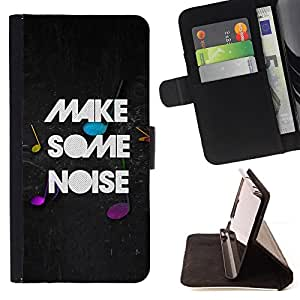BullDog Case - FOR/HTC One M9 / - / make noise quote party live moment music /- Monedero de cuero de la PU Llevar cubierta de la caja con el ID Credit Card Slots Flip funda de cuer