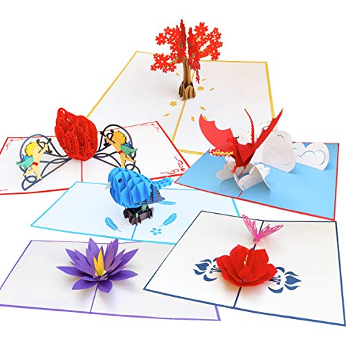 3D Pop Up Greeting Cards Origami Art 6pc Assortment Set - Blue Bird, Lotus Flower, Dragon, Cupid