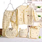 MIOIM Newborn Baby 0-3M Boys Girls Cotton Tops Hat Pants Outfit Sets 5PCS