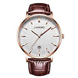 LONGBO Luxury Men's Brown Croco Leather Band Analog Quartz Business Watch Automatically DATE Rose Gold Case Couple Dress Watch Waterproof White Dial Wristwatch For Man