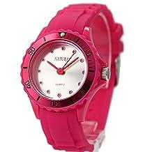 FW717B NATURAL Matt Silver Dial Round Silicone Magenta Band Unisex Fashion Watch
