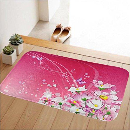 Newplenty Doormat Entrance Floor Rug Indoor Mat Non-slip Flannel for Bedroom Bathroom Living Room Kitchen Home Decorative 60x40CM (Pink Flower)