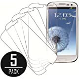 Samsung Galaxy S3 Screen Protector Cover, MPERO Collection 5 Pack of Clear Screen Protectors for Samsung Galaxy S3 / S III