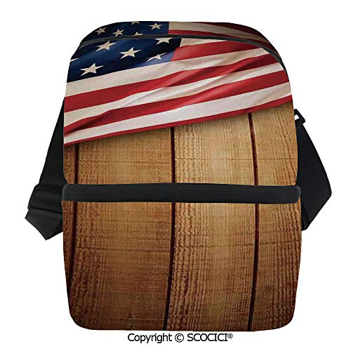 SCOCICI Thermal Insulation Bag USA Design on Vertical Lined Retro Wooden Rustic Back Glory Country Image Lunch Bag Organizer for Women Men Girls Work School Office Outdoor