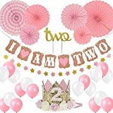 Girl Two Birthday Decoration-Baby Girl/boy 2st Birthday Party Hat Princess Tiara Crown, Cake Topper Two,'I Am Two' and Stars Banner, Pink Hanging Paper Fan Flower, Pink and White Balloons
