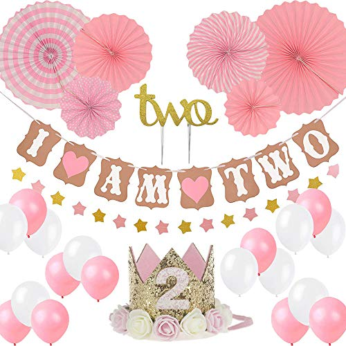 LQSmile Girl Two Birthday Decoration-Baby Girl/boy 2st Birthday Party Hat Princess Tiara Crown, Cake Topper Two, I Am Two and Stars Banner, Pink Hanging Paper Fan Flower, Pink and White -