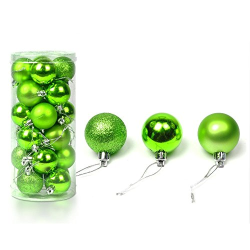 FinalZ Pack of 24 Pcs Shatterproof Christmas Tree Pearlized Ball Ornaments Decorations (Green (Christmas Green Ball Ornament)