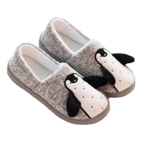 - JadeRich Unisex Penguin Pattern Cozy Fleece Warm House Slippers