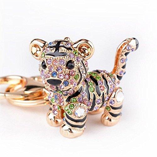Car Keychain!Full Rhinestone Exquisite Animal Little Tiger Keychain Charm Bag Key Chain Holder Women Handbag Jewelry (tiger A)