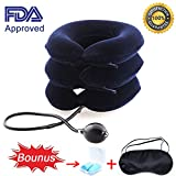 Cervical Neck Traction Device FDA Approved, MHKBD Inflatable Adjustable Neck Stretcher Collar Traction Pillow, Relief for Neck Shoulder Back Pain Alleviate Spine Compression Pinched Nerve, Blue