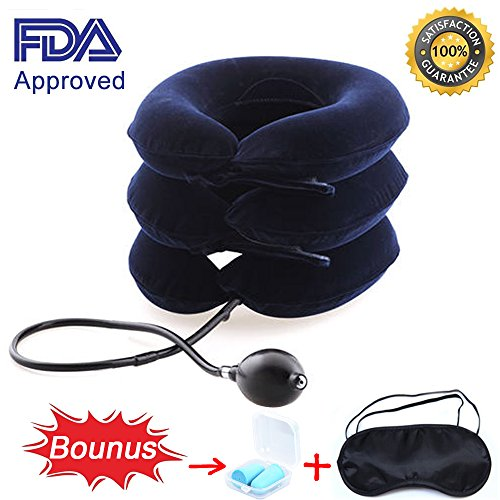 on Device FDA Approved, MHKBD Inflatable Adjustable Neck Stretcher Collar Traction Pillow, Relief for Neck Shoulder Back Pain Alleviate Spine Compression Pinched Nerve, Blue ()