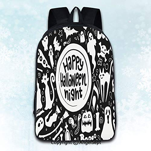 Durable Double Shoulder Bag Rucksack,Cute happy Halloween night background hand drawn style5 Multicolor 16 inches,Multipurpose Use Travel Backpack -