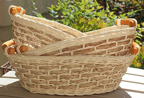 RT450110-3: Wicker/rattan Bread or Storage Curve Pole Handle Baskets in Cream and Sand (Set of 3)