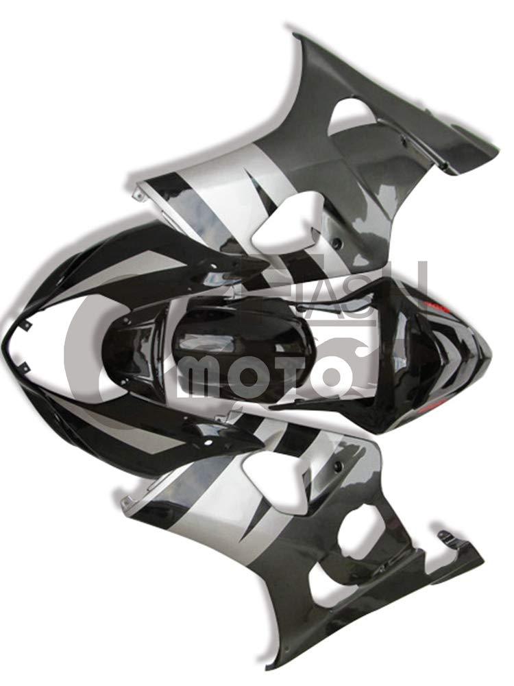 FlashMoto suzuki 鈴木 スズキ K3 GSXR1000 2003 2004用フェアリング 塗装済 オートバイ用射出成型ABS樹脂ボディワークのフェアリングキットセット (ブラック,グレー)   B07M5TCN44