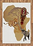 Safari Area Rug by Lunarable, Silhouette Africa Map and Local Animal Elephant Lion Tribal Mask Savannah Wild Life, Flat Woven Accent Rug for Living Room Bedroom Dining Room, 5.2 x 7.5 FT, Multicolor